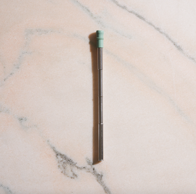 Telescoping Stainless Steel Drinking Straw - Sage Silicone Tip