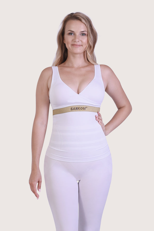 SANKOM PATENT ACTIVEWEAR TOP - WHITE & GOLD