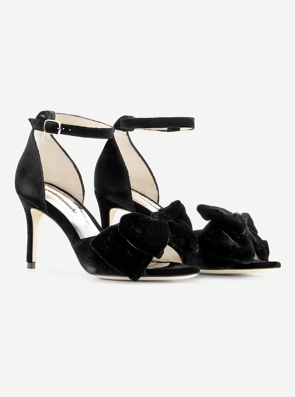 Custommade Marita Velvet Sandal 999 Anthracite Black