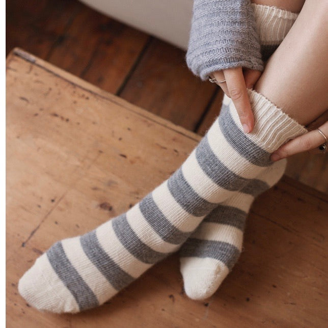 Light Stripe Alpaca Socks