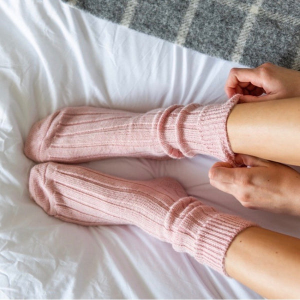 Blush Pink Alpaca Bed Socks