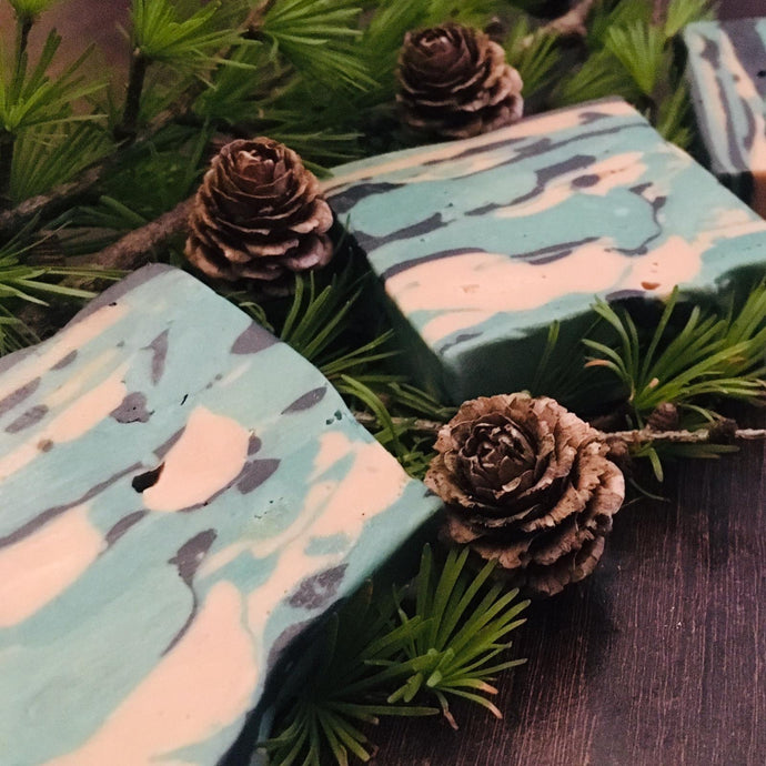 Escape to the forest with this Pine and Spruce Camo Conditioning Shampoo bar
