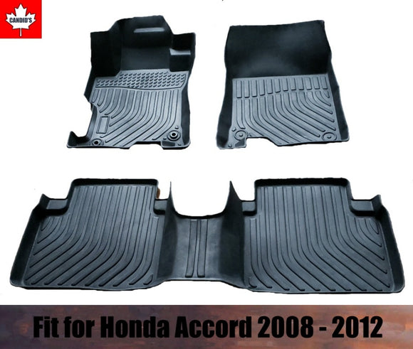 Floor Mats for Honda Accord 2008-2012 All Weather Guard 1st & 2nd Row Mat TPE Slush Liners
