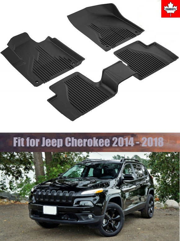 Floor Mats for Jeep Cherokee 2014-2018 All Weather Guard Floor Mat TPE Slush Liners