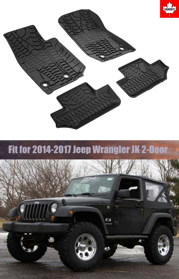 Floor Mats for Jeep Wrangler JK 2-Door 2014-2017 All Weather Guard 1st and 2nd Row Mat TPE Slush Liners