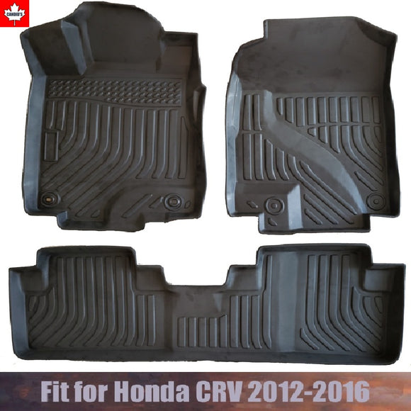 Floor Mats for Honda CRV 2012-2016 All Weather Guard 1st & 2nd Row Mat TPE Slush Liners