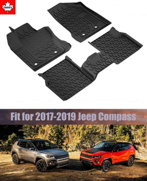 Floor Mats for Jeep Compass 2017-2019 All Weather Guard 1st & 2nd Row Mat TPE Slush Liners