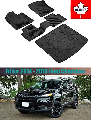 Floor Mats for Jeep Cherokee 2014-2018 All Weather Guard Floor & Cargo Mat TPE Slush Liners