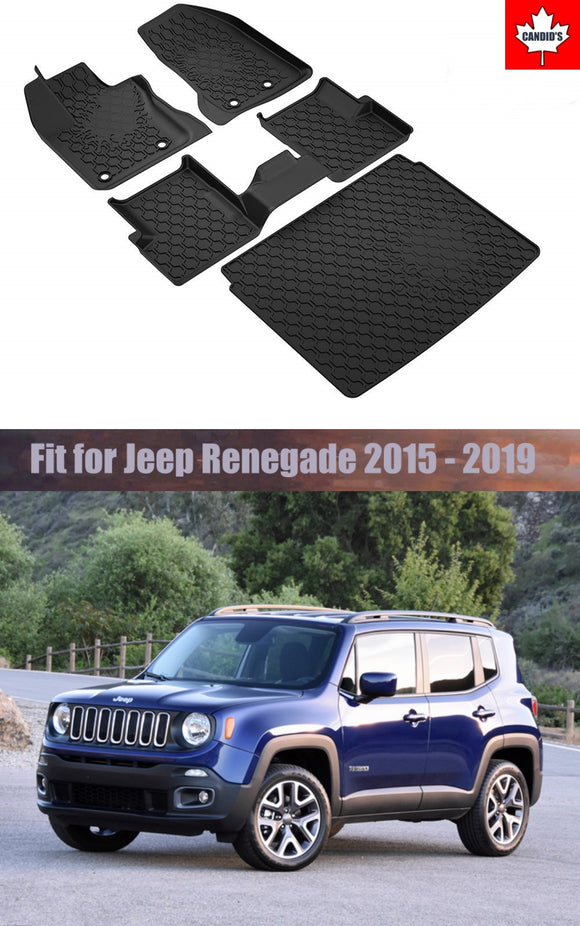 Floor Mats & Cargo for Jeep Renegade 2015-2019 All Weather Guard Mat TPE Slush Liners