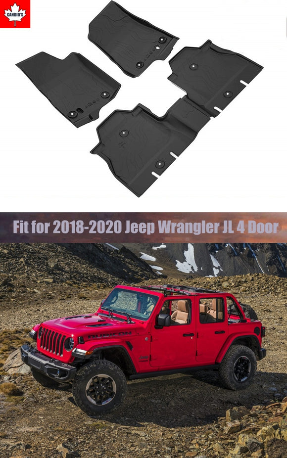 Floor Mats for Jeep Wrangler JL 4-Door 2018-2019-2020 All Weather Guard 1st & 2nd Row Mat TPE Slush Liners