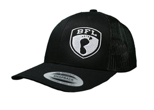 White Shield Black Trucker Hat - Barefoot League