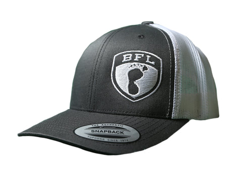 White Shield Grey Trucker Hat