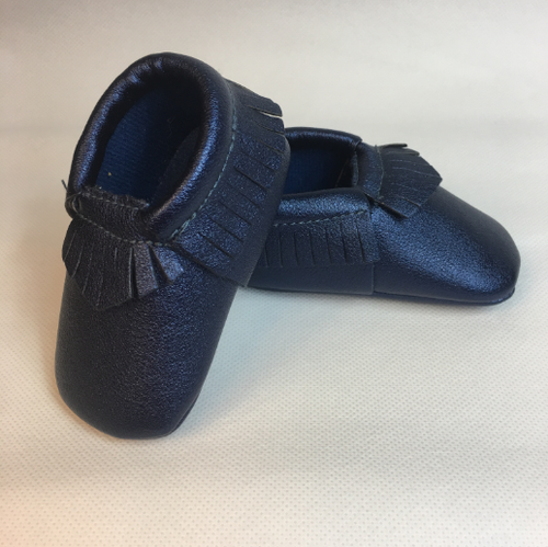 Baby Fringe Moccasins - Blue Leather
