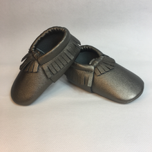 Baby Fringe Moccasins - Ash Grey Leather