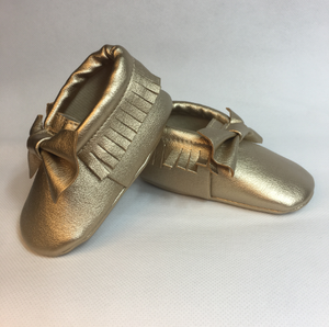 Baby Fringe Moccasins - Gold Leather with Bow