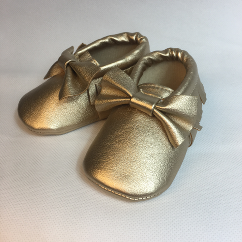 (6-12 m) Moccasins - Gold with Bow