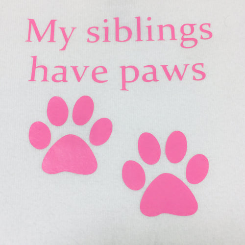 Newborn Bodysuit - Siblings Have Paws (Pink)