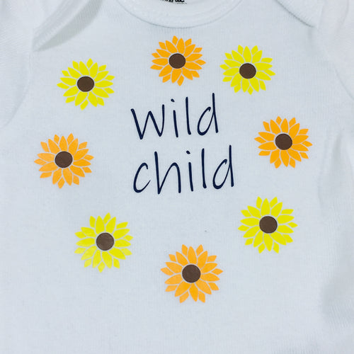 Newborn Bodysuit - Wild Child (Sunflowers)