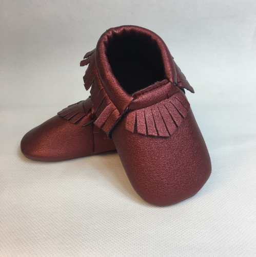 Baby Fringe Moccasins - Maroon Red Leather