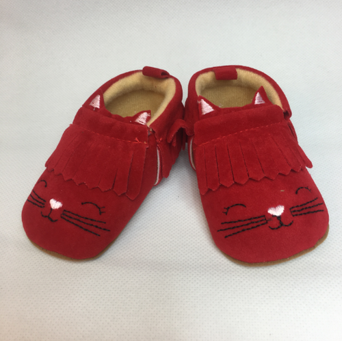 (6-12 m) Moccasins - Red Kittens