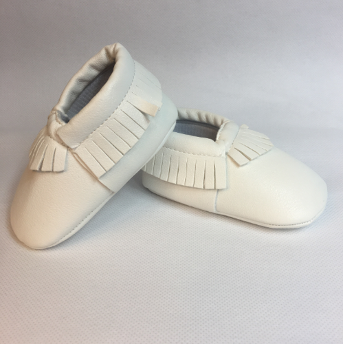 Baby Fringe Moccasins - White Leather