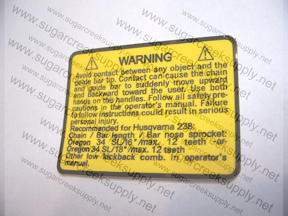 Husqvarna 238 Warning decal