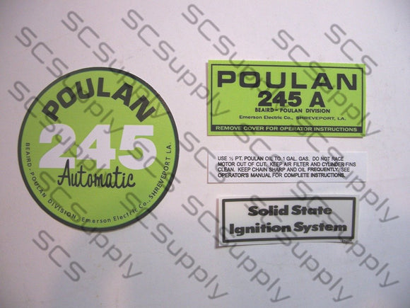 Poulan 245A (solid state version) decal set
