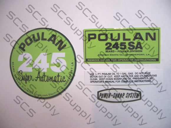 Poulan 245SA (points version) decal set