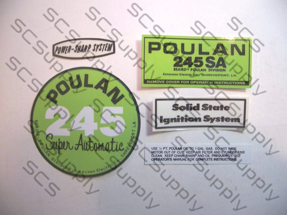 Poulan 245SA (solid state version) decal set