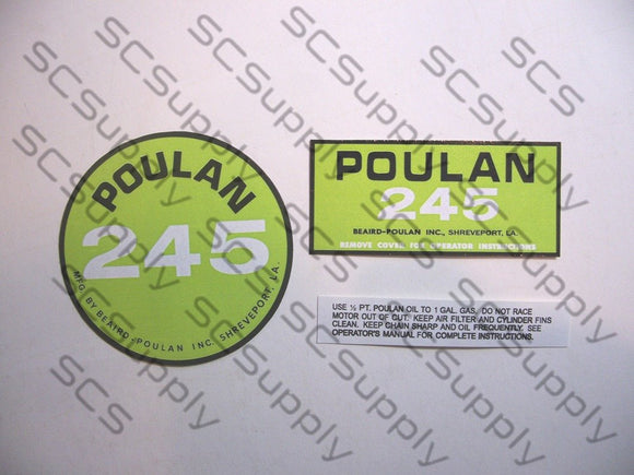 Poulan 245 decal set