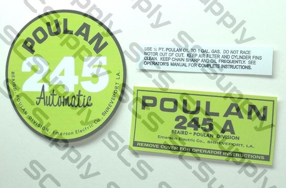 Poulan 245A (points version) decal set