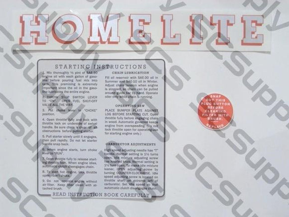 Homelite 26LCS decal set