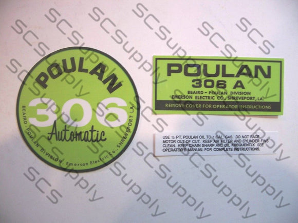 Poulan 306A (points version) decal set