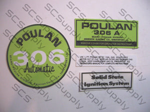 Poulan 306A (solid state version) decal set