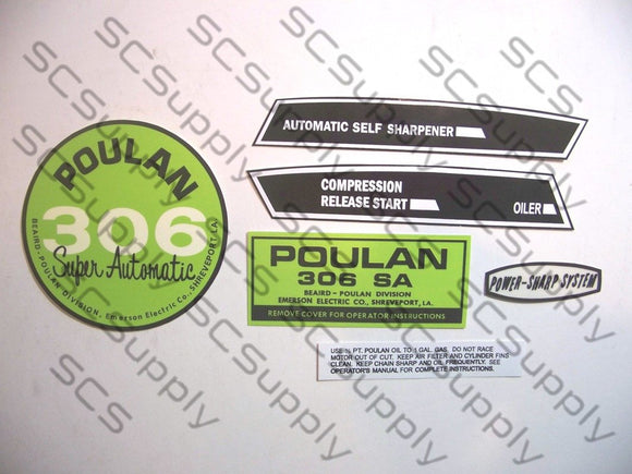 Poulan 306SA (points version) decal set
