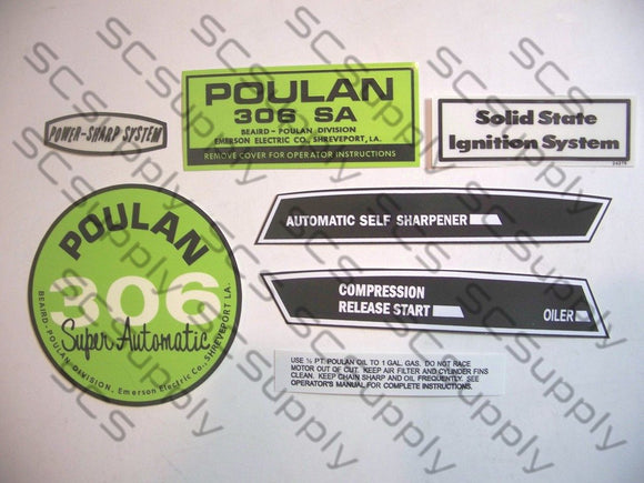 Poulan 306SA (solid state version) decal set
