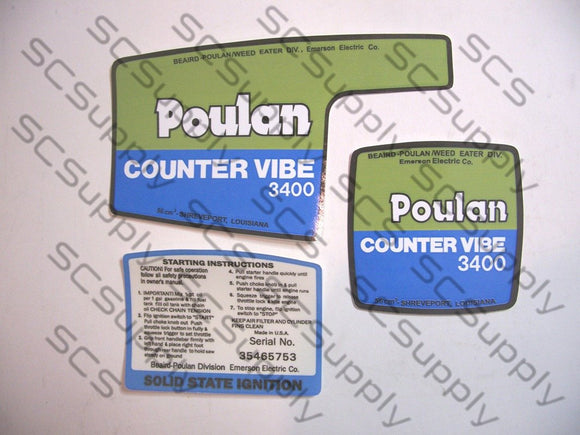 Poulan 3400 CounterVibe decal set
