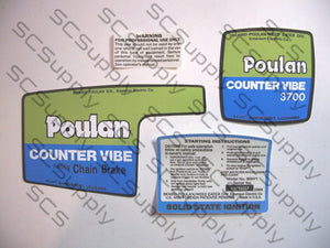 Poulan 3700 CounterVibe w/ChainBrake decal set