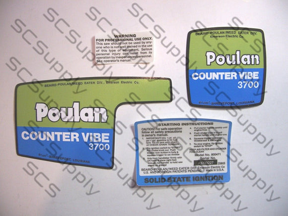 Poulan 3700 CounterVibe decal set
