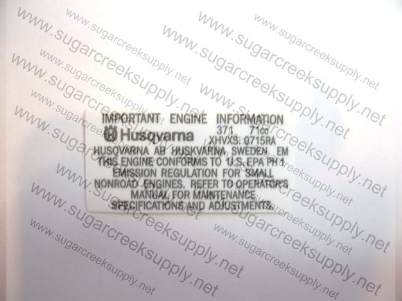 Husqvarna 371XP engine info decal