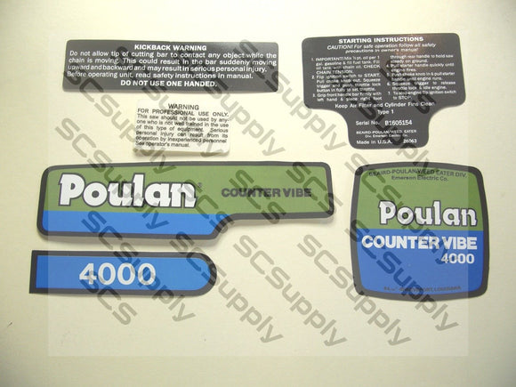 Poulan 4000 CounterVibe decal set