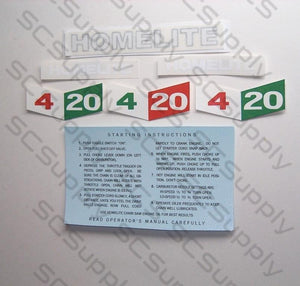 Homelite 4-20 decal set