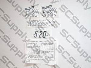 Homelite 5-20 decal set