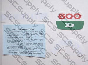 Homelite 600D decal set