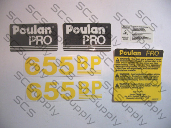 Poulan Pro 655BP decal set