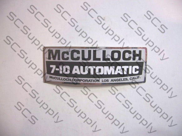 McCulloch 7-10 Automatic decal set