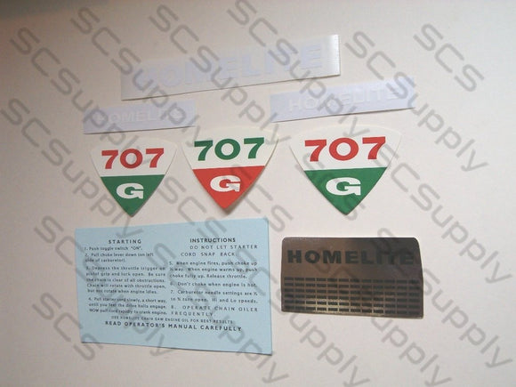Homelite 707G decal set
