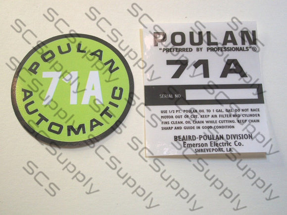 Poulan 71A decal set