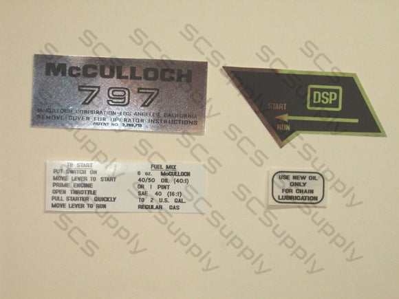 McCulloch 797 decal set
