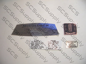 McCulloch CP125 decal set